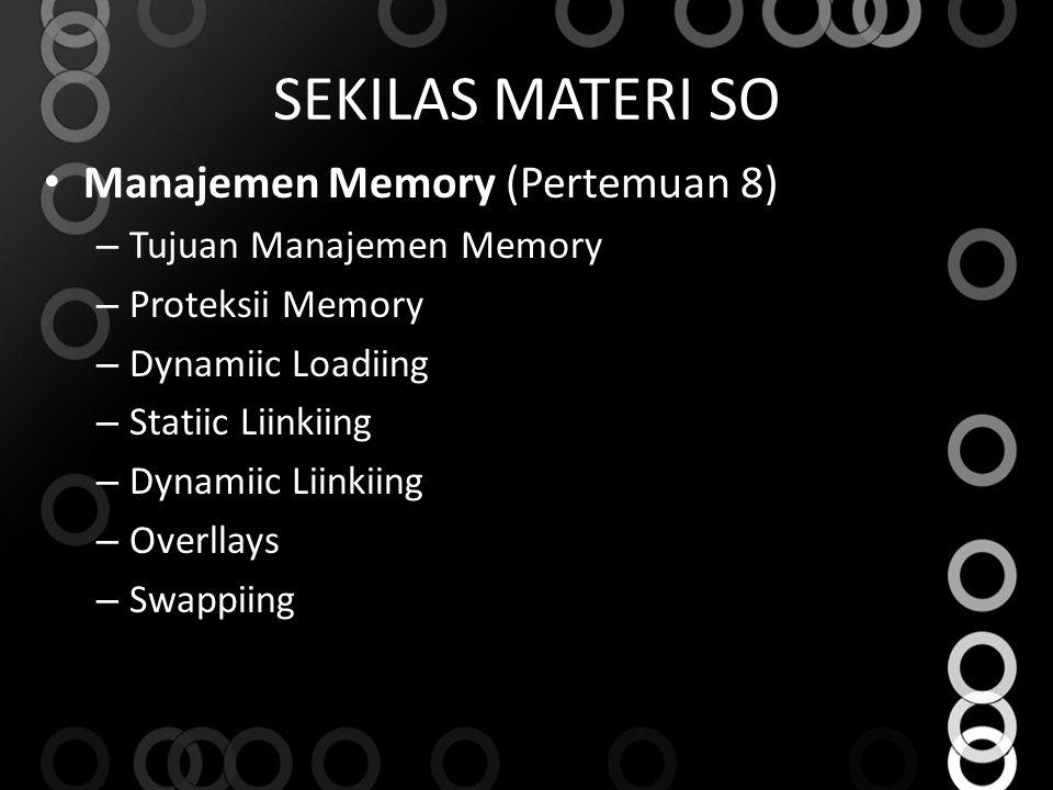 SEKILAS MATERI SO Manajemen Memory (Pertemuan 8) – Tujuan Manajemen Memory – Proteksii Memory – Dynamiic Loadiing – Statiic Liinkiing – Dynamiic Liinkiing – Overllays – Swappiing