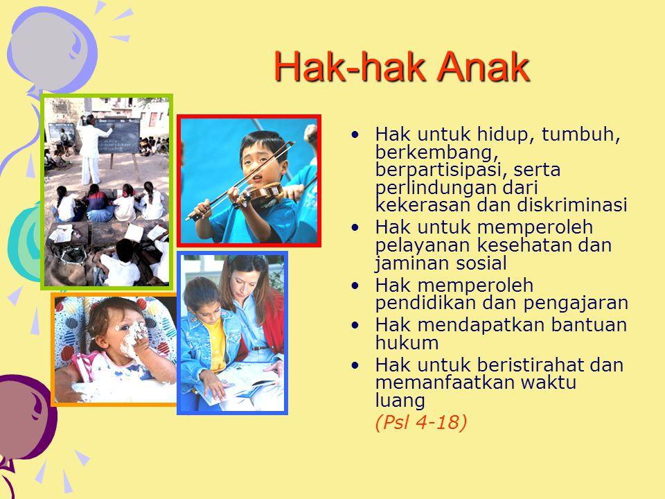 Hak-hak Anak Hak untuk hidup, tumbuh, berkembang, berpartisipasi, serta perlindungan dari kekerasan dan diskriminasi Hak untuk memperoleh pelayanan kesehatan dan jaminan sosial Hak memperoleh pendidikan dan pengajaran Hak mendapatkan bantuan hukum Hak untuk beristirahat dan memanfaatkan waktu luang (Psl 4-18)