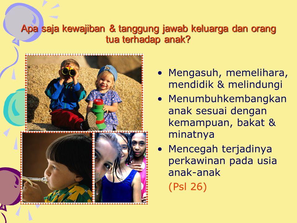 Apa saja kewajiban & tanggung jawab keluarga dan orang tua terhadap anak.