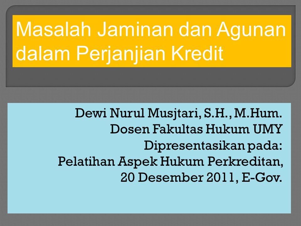 Dewi Nurul Musjtari, S.H., M.Hum. Dosen Fakultas Hukum UMY Dipresentasikan pada: Pelatihan Aspek Hukum Perkreditan, 20 Desember 2011, E-Gov. Masalah J