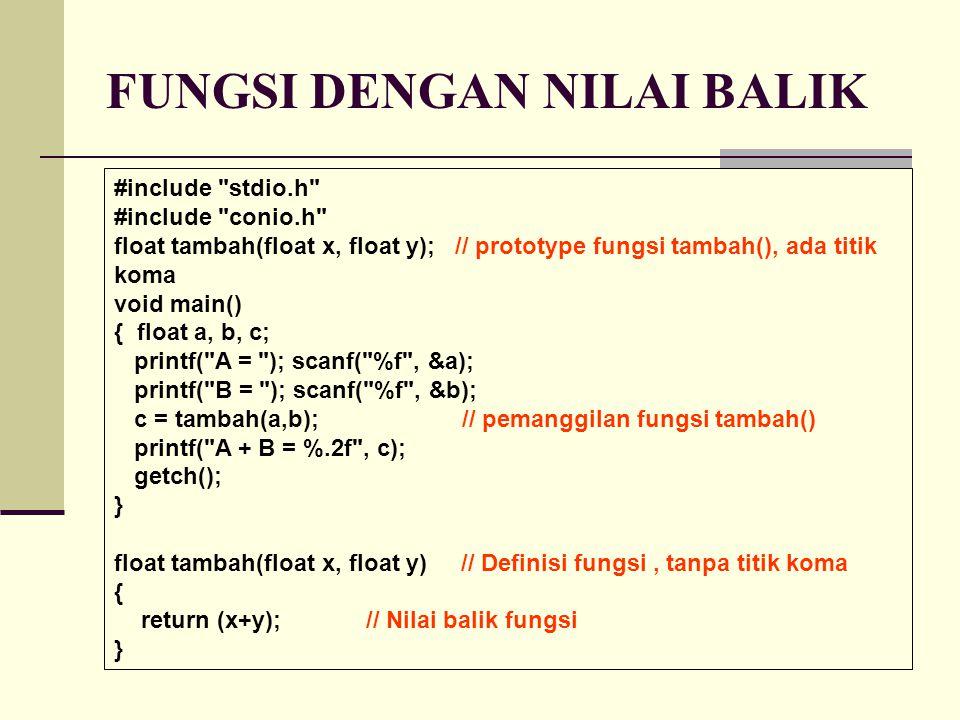FUNGSI DENGAN NILAI BALIK #include stdio.h #include conio.h float tambah(float x, float y); // prototype fungsi tambah(), ada titik koma void main() { float a, b, c; printf( A = ); scanf( %f , &a); printf( B = ); scanf( %f , &b); c = tambah(a,b); // pemanggilan fungsi tambah() printf( A + B = %.2f , c); getch(); } float tambah(float x, float y) // Definisi fungsi, tanpa titik koma { return (x+y); // Nilai balik fungsi }