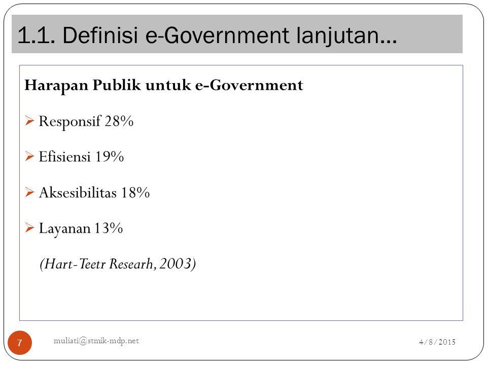 1.1. Definisi e-Government lanjutan… 4/8/2015 muliati@stmik-mdp.net 7 Harapan Publik untuk e-Government  Responsif 28%  Efisiensi 19%  Aksesibilita