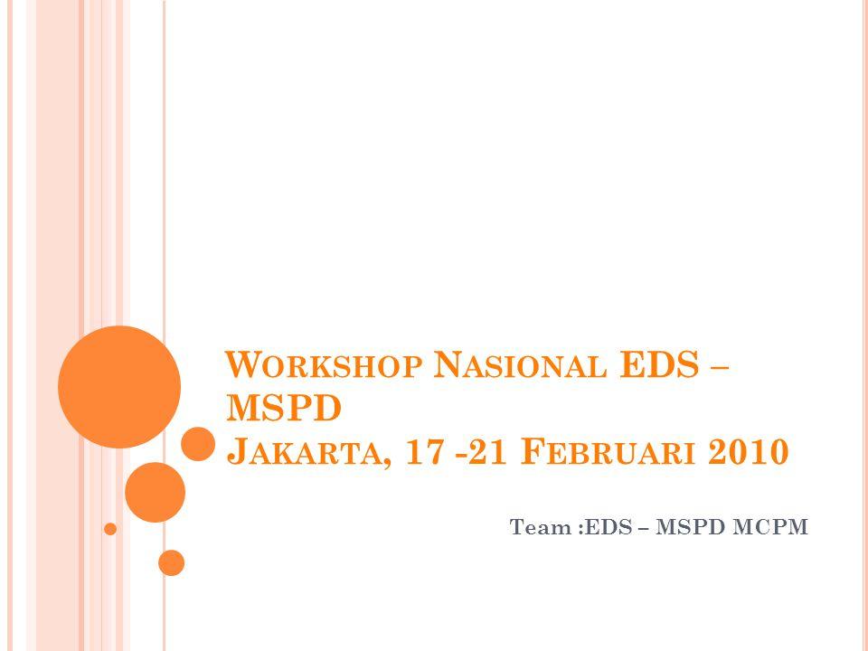W ORKSHOP N ASIONAL EDS – MSPD J AKARTA, 17 -21 F EBRUARI 2010 Team :EDS – MSPD MCPM