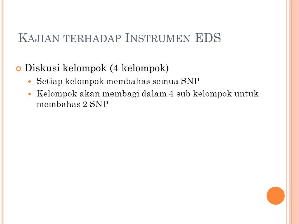 K AJIAN TERHADAP I NSTRUMEN EDS Diskusi kelompok (4 kelompok) Setiap kelompok membahas semua SNP Kelompok akan membagi dalam 4 sub kelompok untuk membahas 2 SNP