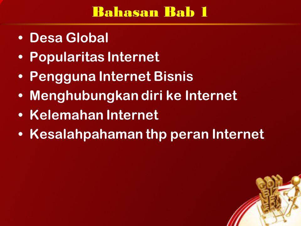 Bahasan Bab 1 Desa Global Popularitas Internet Pengguna Internet Bisnis Menghubungkan diri ke Internet Kelemahan Internet Kesalahpahaman thp peran Int
