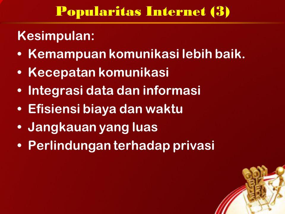 Popularitas Internet (3) Kesimpulan: Kemampuan komunikasi lebih baik. Kecepatan komunikasi Integrasi data dan informasi Efisiensi biaya dan waktu Jang