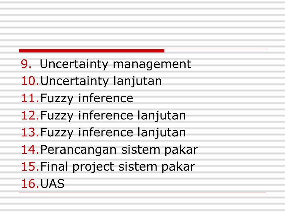 9.Uncertainty management 10.Uncertainty lanjutan 11.Fuzzy inference 12.Fuzzy inference lanjutan 13.Fuzzy inference lanjutan 14.Perancangan sistem paka