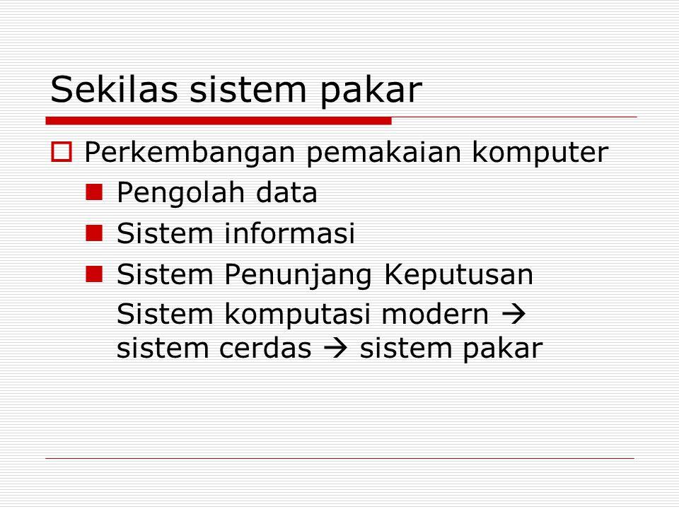 Sekilas sistem pakar  Perkembangan pemakaian komputer Pengolah data Sistem informasi Sistem Penunjang Keputusan Sistem komputasi modern  sistem cerd