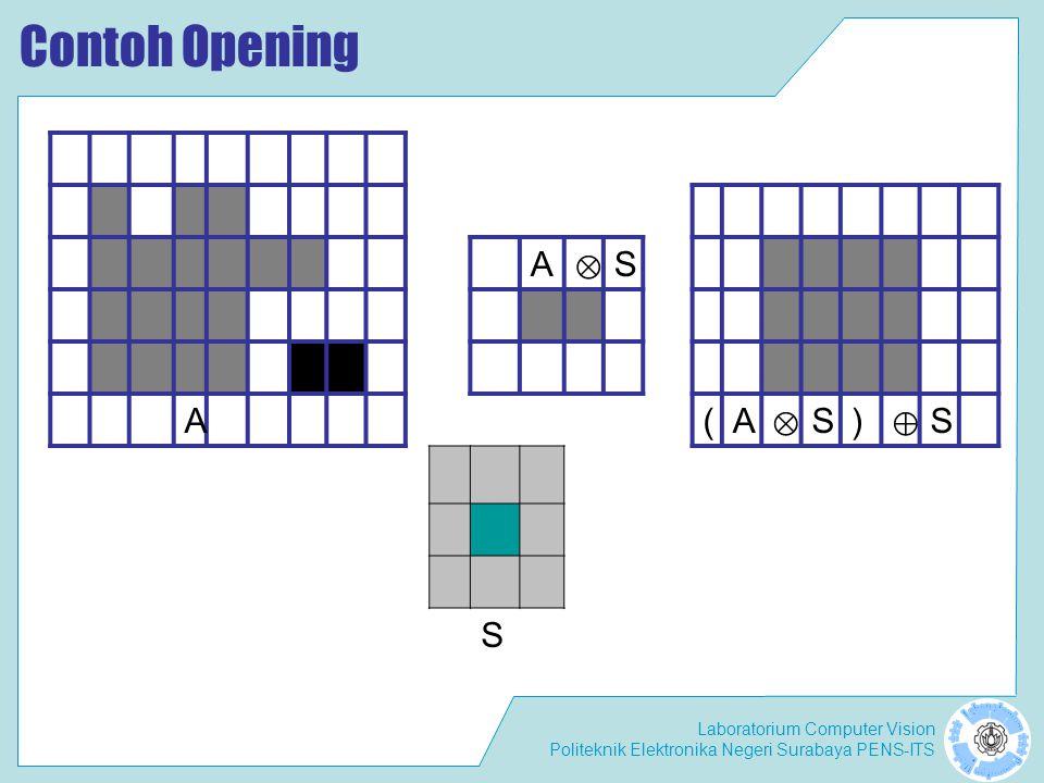Laboratorium Computer Vision Politeknik Elektronika Negeri Surabaya PENS-ITS Contoh Opening A ⊗ S A(A ⊗ S) ⊕ S S