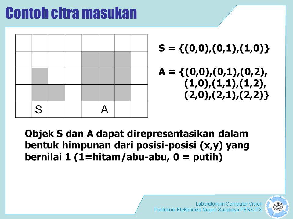 Laboratorium Computer Vision Politeknik Elektronika Negeri Surabaya PENS-ITS Operasi Morfologi Secara umum, pemrosesan citra secara morfologi dilakukan dengan cara mem-passing sebuah structuring element terhadap sebuah citra dengan cara yang hampir sama dengan konvolusi.