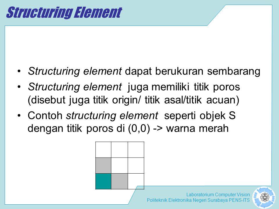 Laboratorium Computer Vision Politeknik Elektronika Negeri Surabaya PENS-ITS Thinning Thinning dapat didefinisikan sebagai: –Thinning(A,{B}) = A – (A * {B}) = A – ((...(A*B1)*B2)..Bn) Dengan B1, B2, B3..Bn adalah Structuring element.