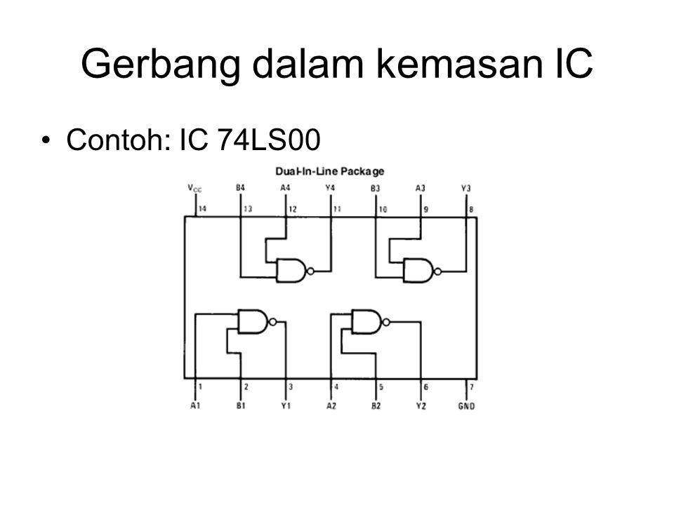 Gerbang dalam kemasan IC Contoh: IC 74LS00