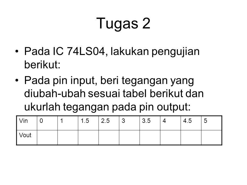 Tugas 2 Pada IC 74LS04, lakukan pengujian berikut: Pada pin input, beri tegangan yang diubah-ubah sesuai tabel berikut dan ukurlah tegangan pada pin o