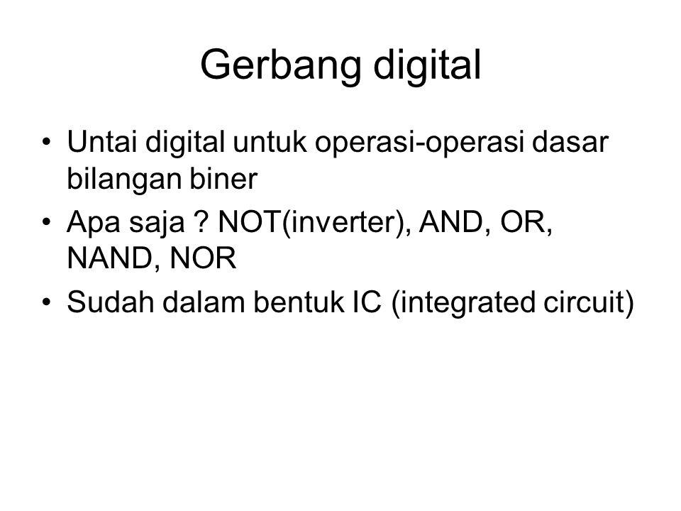 Gerbang digital Untai digital untuk operasi-operasi dasar bilangan biner Apa saja ? NOT(inverter), AND, OR, NAND, NOR Sudah dalam bentuk IC (integrate