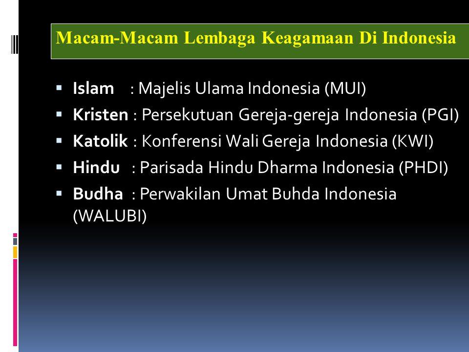 Islam : Majelis Ulama Indonesia (MUI)  Kristen : Persekutuan Gereja-gereja Indonesia (PGI)  Katolik : Konferensi Wali Gereja Indonesia (KWI)  Hin