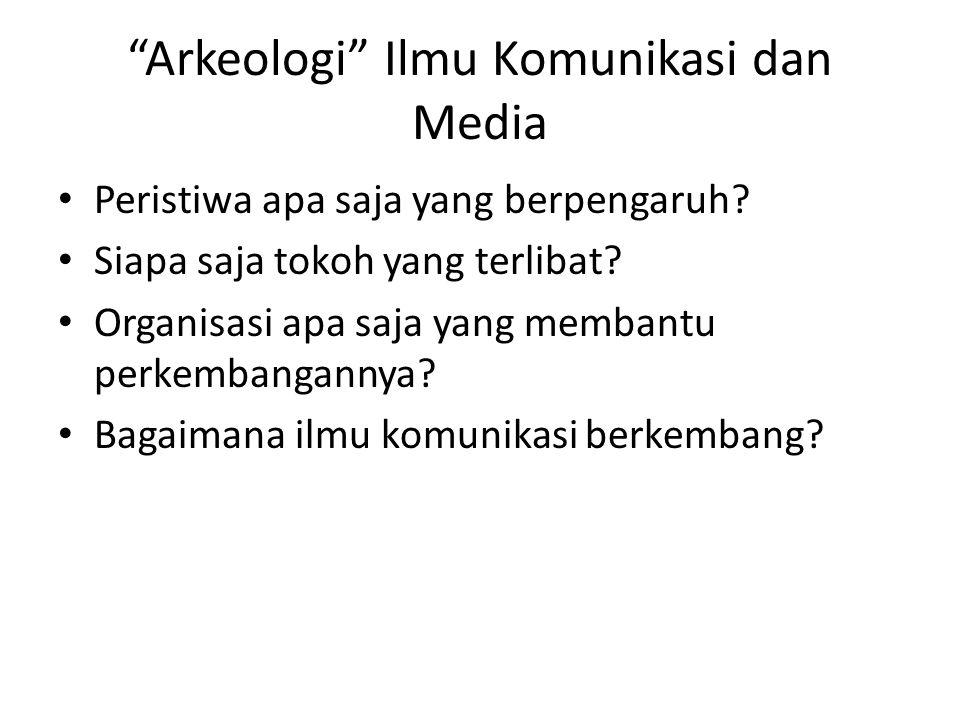 """Arkeologi"" Ilmu Komunikasi dan Media Peristiwa apa saja yang berpengaruh? Siapa saja tokoh yang terlibat? Organisasi apa saja yang membantu perkemban"