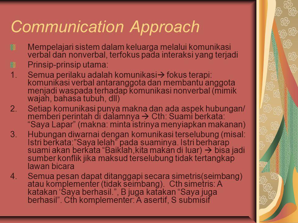 Communication Approach Mempelajari sistem dalam keluarga melalui komunikasi verbal dan nonverbal, terfokus pada interaksi yang terjadi Prinsip-prinsip utama: 1.Semua perilaku adalah komunikasi  fokus terapi: komunikasi verbal antaranggota dan membantu anggota menjadi waspada terhadap komunikasi nonverbal (mimik wajah, bahasa tubuh, dll) 2.Setiap komunikasi punya makna dan ada aspek hubungan/ memberi perintah di dalamnya  Cth: Suami berkata: Saya Lapar (makna: minta istrinya menyiapkan makanan) 3.Hubungan diwarnai dengan komunikasi terselubung (misal: Istri berkata: Saya lelah pada suaminya.