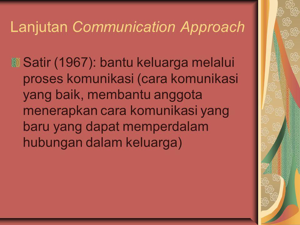 Lanjutan Communication Approach Satir (1967): bantu keluarga melalui proses komunikasi (cara komunikasi yang baik, membantu anggota menerapkan cara ko