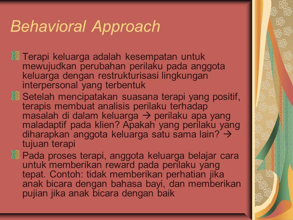 Behavioral Approach Terapi keluarga adalah kesempatan untuk mewujudkan perubahan perilaku pada anggota keluarga dengan restrukturisasi lingkungan interpersonal yang terbentuk Setelah mencipatakan suasana terapi yang positif, terapis membuat analisis perilaku terhadap masalah di dalam keluarga  perilaku apa yang maladaptif pada klien.