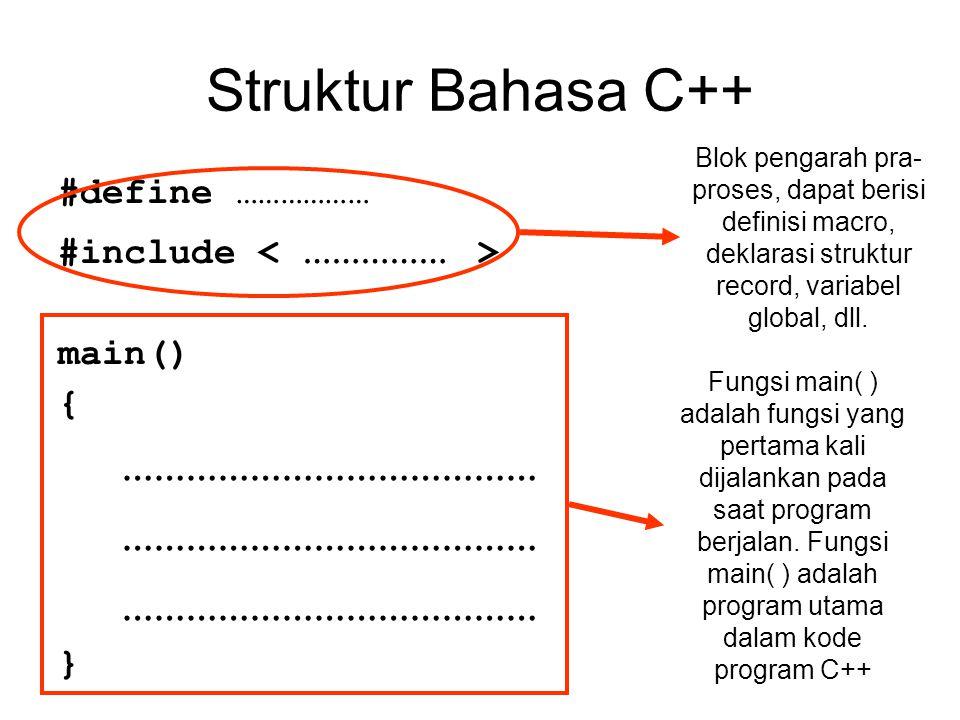 Struktur Bahasa C++ #define ……………… #include main() { ………………………………… } Blok pengarah pra- proses, dapat berisi definisi macro, deklarasi struktur record
