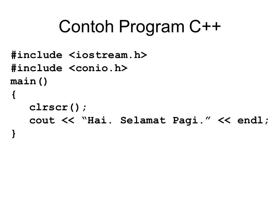 "Contoh Program C++ #include main() { clrscr(); cout << ""Hai. Selamat Pagi."" << endl; }"