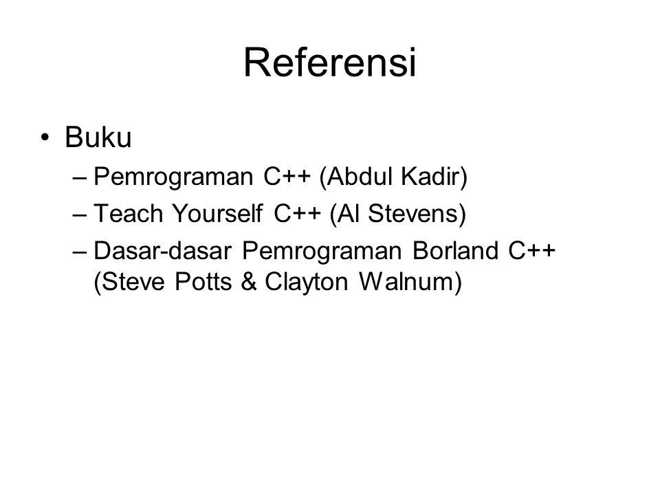 Referensi Buku –Pemrograman C++ (Abdul Kadir) –Teach Yourself C++ (Al Stevens) –Dasar-dasar Pemrograman Borland C++ (Steve Potts & Clayton Walnum)