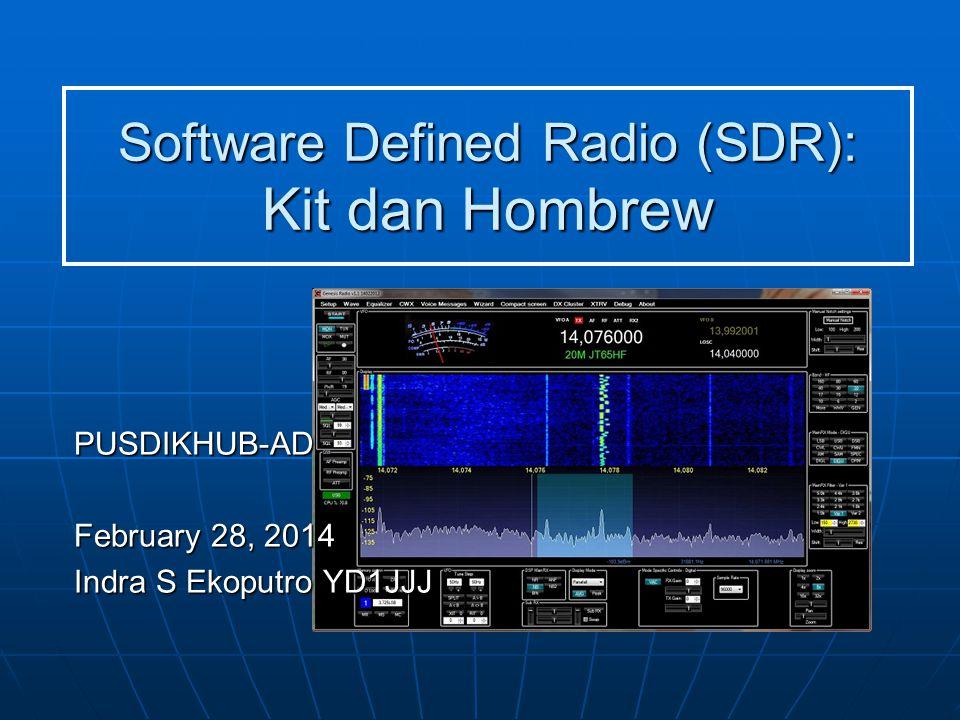 Pengertian SDR yang 'mudah' Pengolahan sinyal IQ dengan digital processing Dua sinyal baseband I & Q diumpan ke saluran kiri dan kanan soundcard, selanjutnya di konversi ke digital dengan resolusi 16bit atau 24bit.