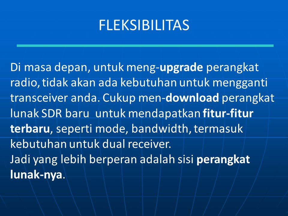FLEKSIBILITAS Di masa depan, untuk meng-upgrade perangkat radio, tidak akan ada kebutuhan untuk mengganti transceiver anda. Cukup men-download perangk
