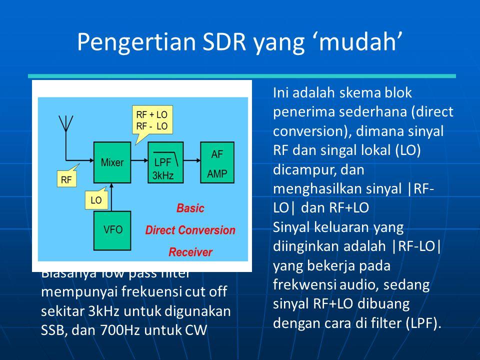 Pengertian SDR yang 'mudah' Ini adalah skema blok penerima sederhana (direct conversion), dimana sinyal RF dan singal lokal (LO) dicampur, dan menghas