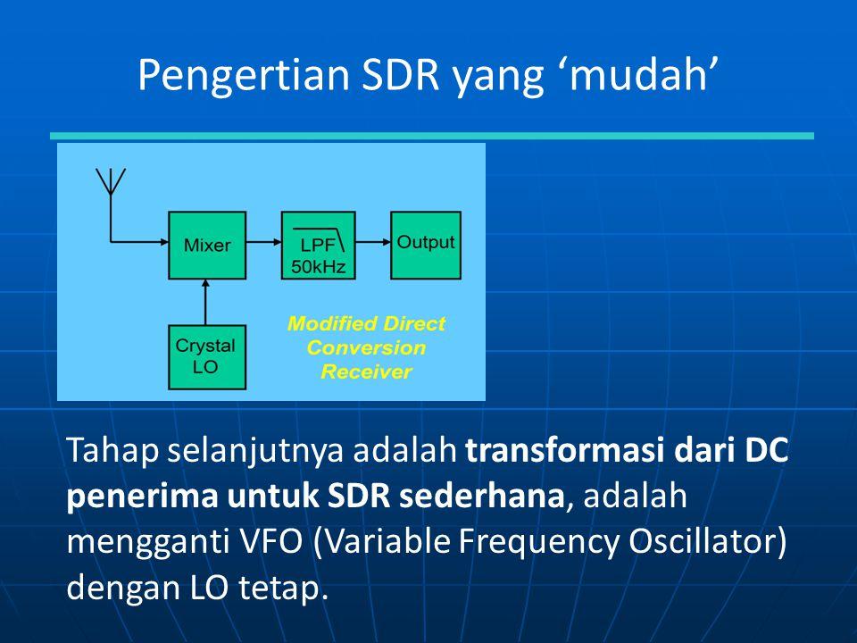 Pengertian SDR yang 'mudah' Tahap selanjutnya adalah transformasi dari DC penerima untuk SDR sederhana, adalah mengganti VFO (Variable Frequency Oscil