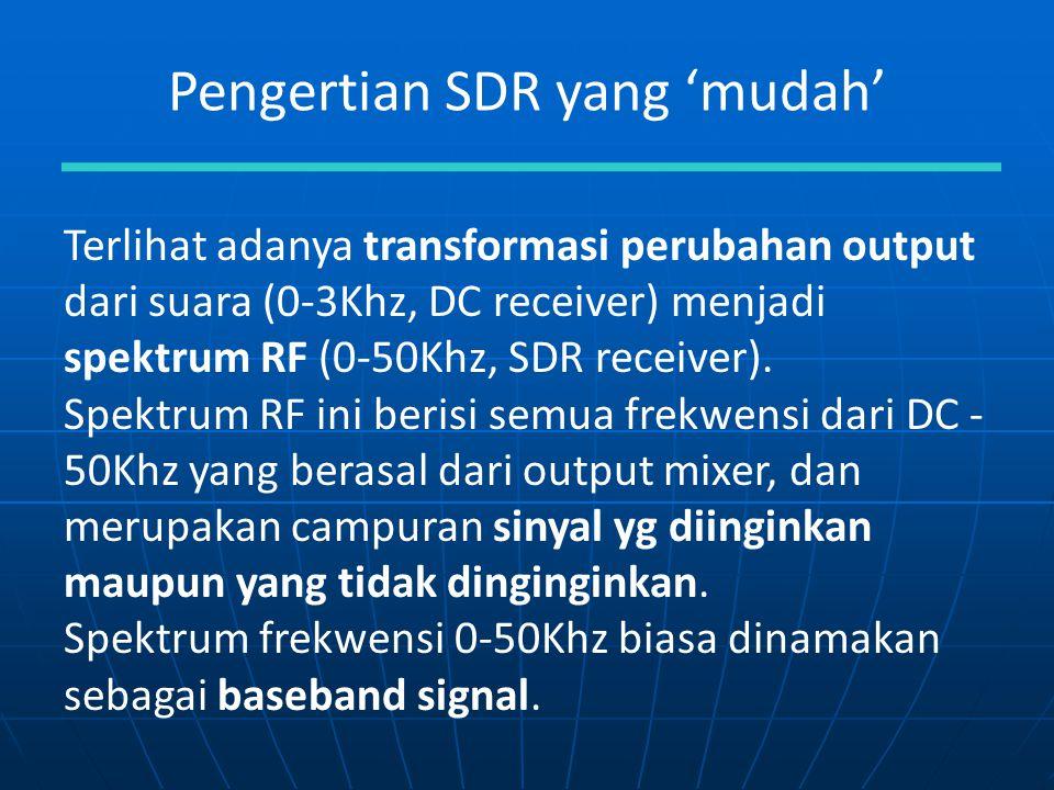 Pengertian SDR yang 'mudah' Terlihat adanya transformasi perubahan output dari suara (0-3Khz, DC receiver) menjadi spektrum RF (0-50Khz, SDR receiver)