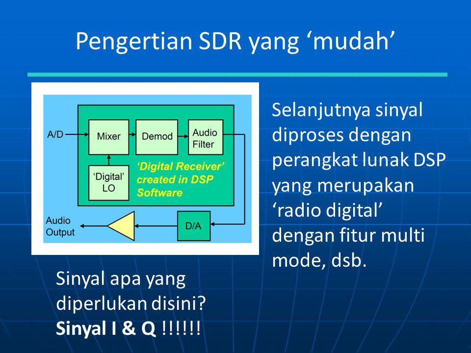 Pengertian SDR yang 'mudah' Selanjutnya sinyal diproses dengan perangkat lunak DSP yang merupakan 'radio digital' dengan fitur multi mode, dsb. Sinyal