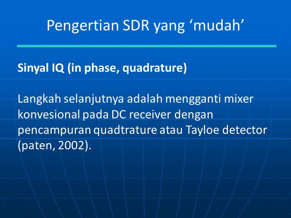 Pengertian SDR yang 'mudah' Sinyal IQ (in phase, quadrature) Langkah selanjutnya adalah mengganti mixer konvesional pada DC receiver dengan pencampura