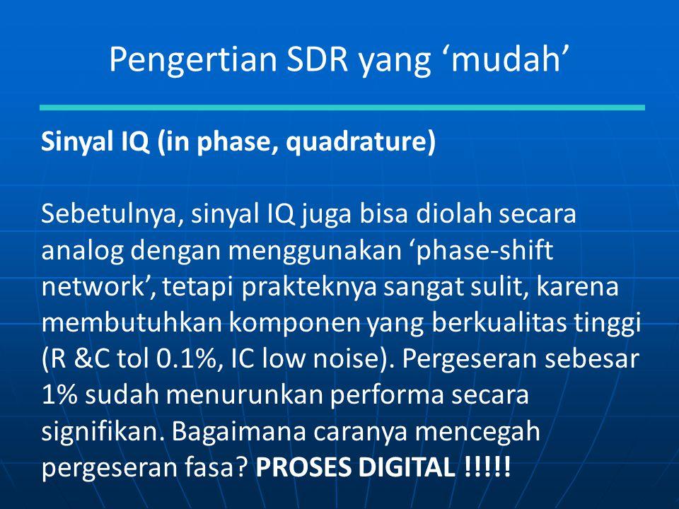 Pengertian SDR yang 'mudah' Sinyal IQ (in phase, quadrature) Sebetulnya, sinyal IQ juga bisa diolah secara analog dengan menggunakan 'phase-shift netw