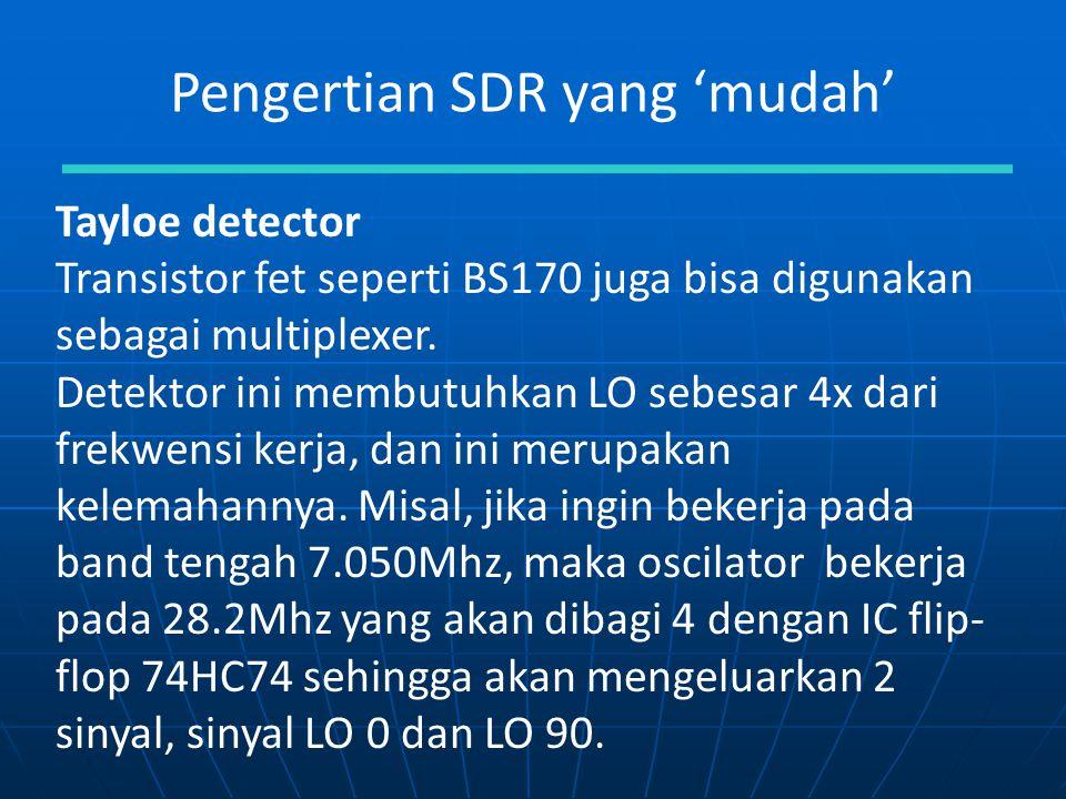 Pengertian SDR yang 'mudah' Tayloe detector Transistor fet seperti BS170 juga bisa digunakan sebagai multiplexer. Detektor ini membutuhkan LO sebesar