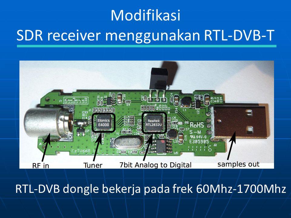 Modifikasi SDR receiver menggunakan RTL-DVB-T RTL-DVB dongle bekerja pada frek 60Mhz-1700Mhz