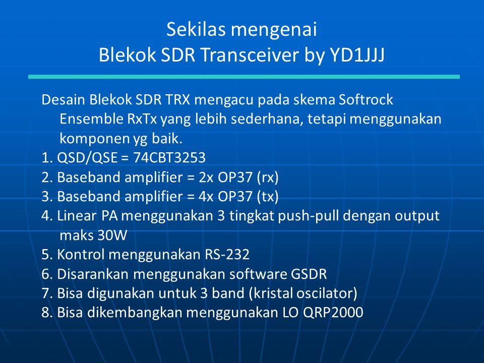 Sekilas mengenai Blekok SDR Transceiver by YD1JJJ Desain Blekok SDR TRX mengacu pada skema Softrock Ensemble RxTx yang lebih sederhana, tetapi menggun