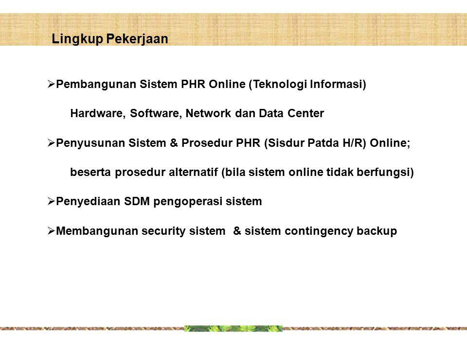  Pembangunan Sistem PHR Online (Teknologi Informasi) Hardware, Software, Network dan Data Center  Penyusunan Sistem & Prosedur PHR (Sisdur Patda H/R