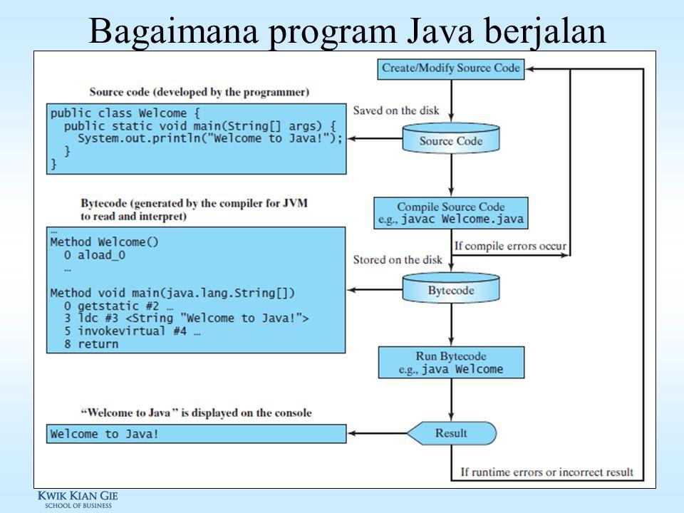 Mengkompile & menjalankan program Java Untuk dapat mengkompile program/aplikasi java, dibutuhkan JDK (Java Development Kit) > javac helloworld.java Un