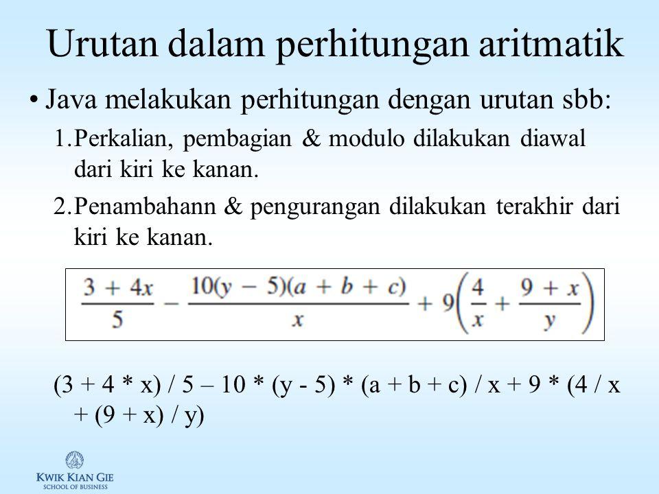 Numeric Literal Numeric literal adalah nilai konstan di Java Integer literal –Untuk menunjukan variabel integer bertipe long digunakan huruf L atau l.