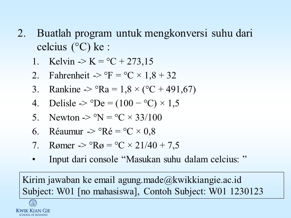 """Latihan & Review W01 1.Buatlah program untuk menghitung 1.Diameter lingkaran 2.Keliling lingkaran 3.Luas lingkaran Input dari console """"Masukan nilai j"""