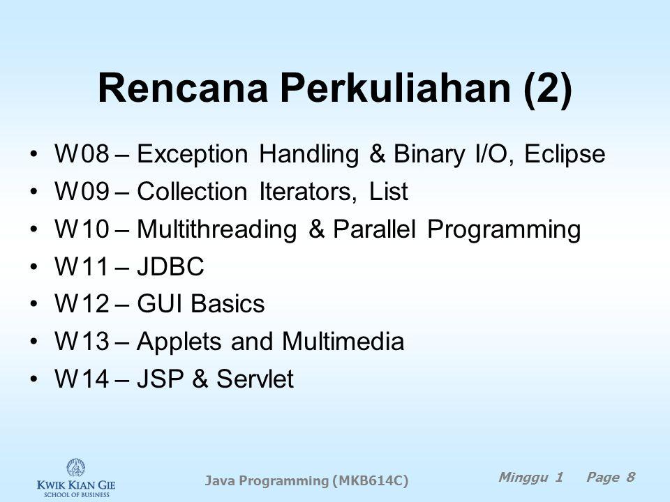 Rencana Perkuliahan (1) W01 – Dasar pemrograman Java W02 – Selections & Loops di Java W03 – Fungsi matematika, character, string W04 – Methods, fungsi