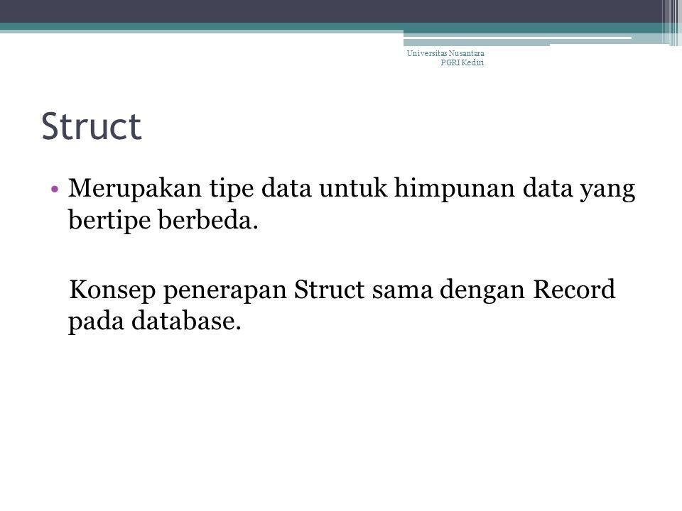 Struct Merupakan tipe data untuk himpunan data yang bertipe berbeda. Konsep penerapan Struct sama dengan Record pada database. Universitas Nusantara P