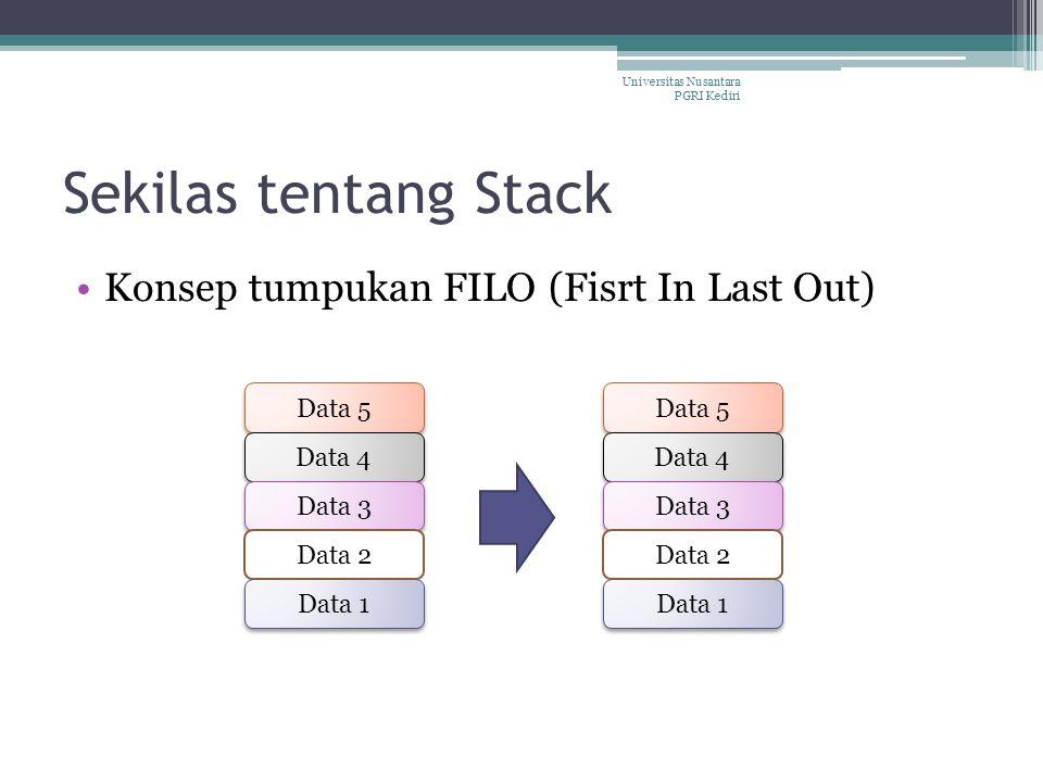 Sekilas tentang Stack Konsep tumpukan FILO (Fisrt In Last Out) Data 1 Data 5 Data 4 Data 3 Data 2 Data 1 Data 5 Data 4 Data 3 Data 2 Universitas Nusan