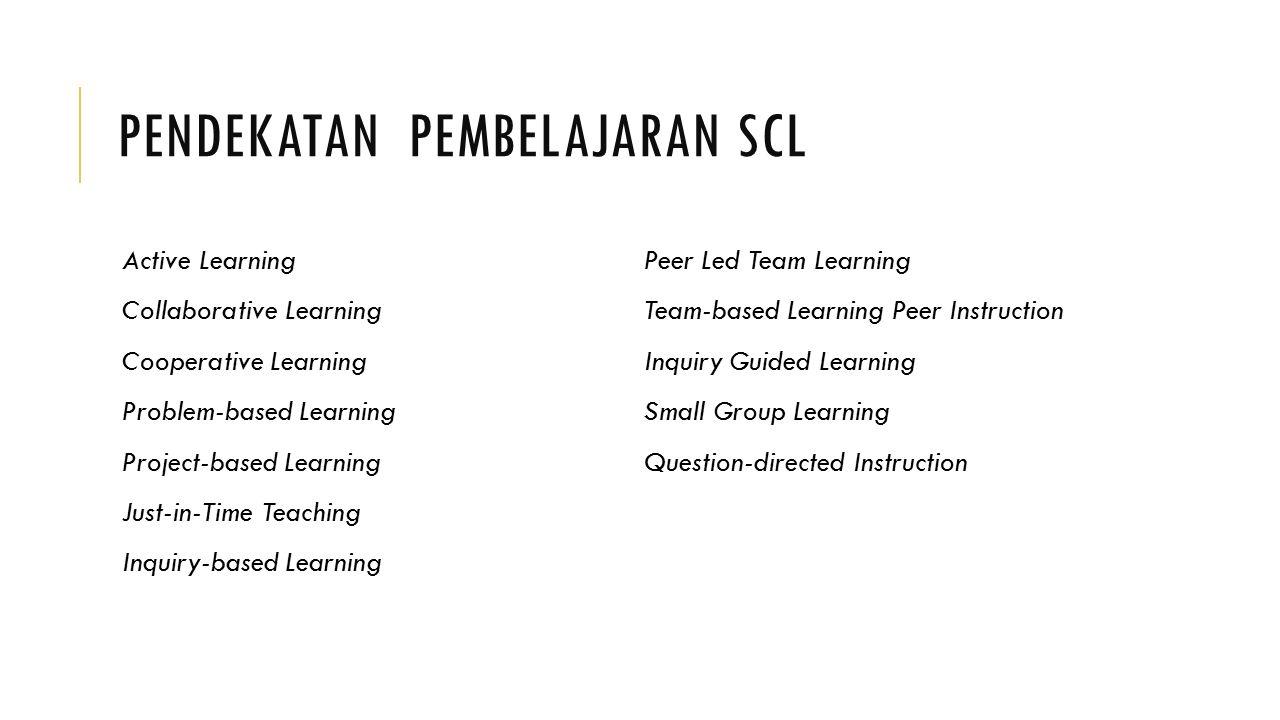 PENDEKATAN PEMBELAJARAN SCL Active Learning Collaborative Learning Cooperative Learning Problem-based Learning Project-based Learning Just-in-Time Tea