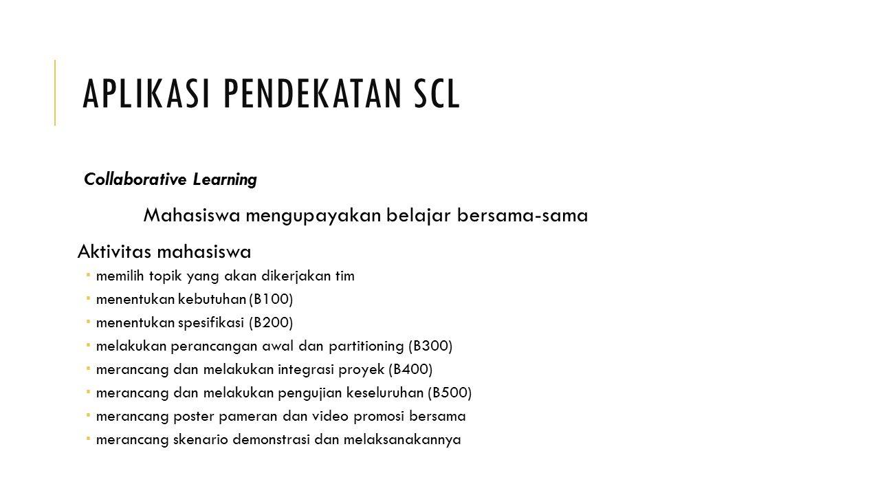 APLIKASI PENDEKATAN SCL Collaborative Learning Mahasiswa mengupayakan belajar bersama-sama Aktivitas mahasiswa  memilih topik yang akan dikerjakan ti