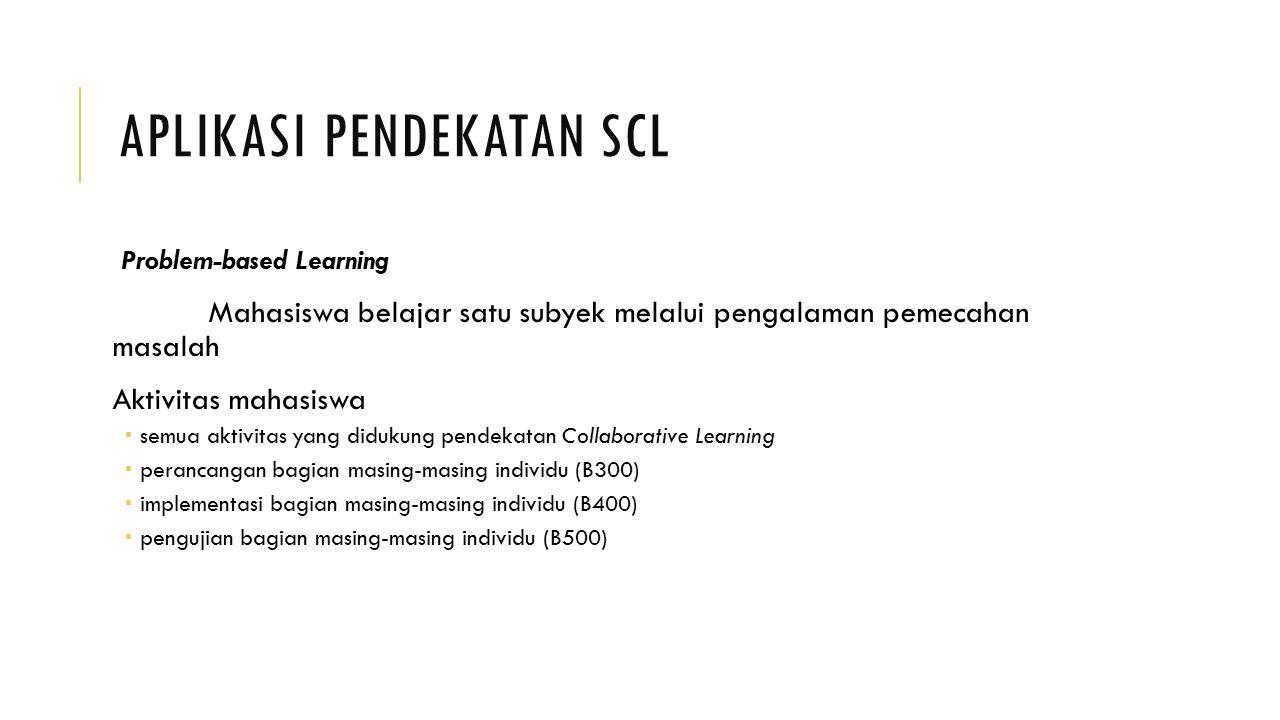 APLIKASI PENDEKATAN SCL Problem-based Learning Mahasiswa belajar satu subyek melalui pengalaman pemecahan masalah Aktivitas mahasiswa  semua aktivita