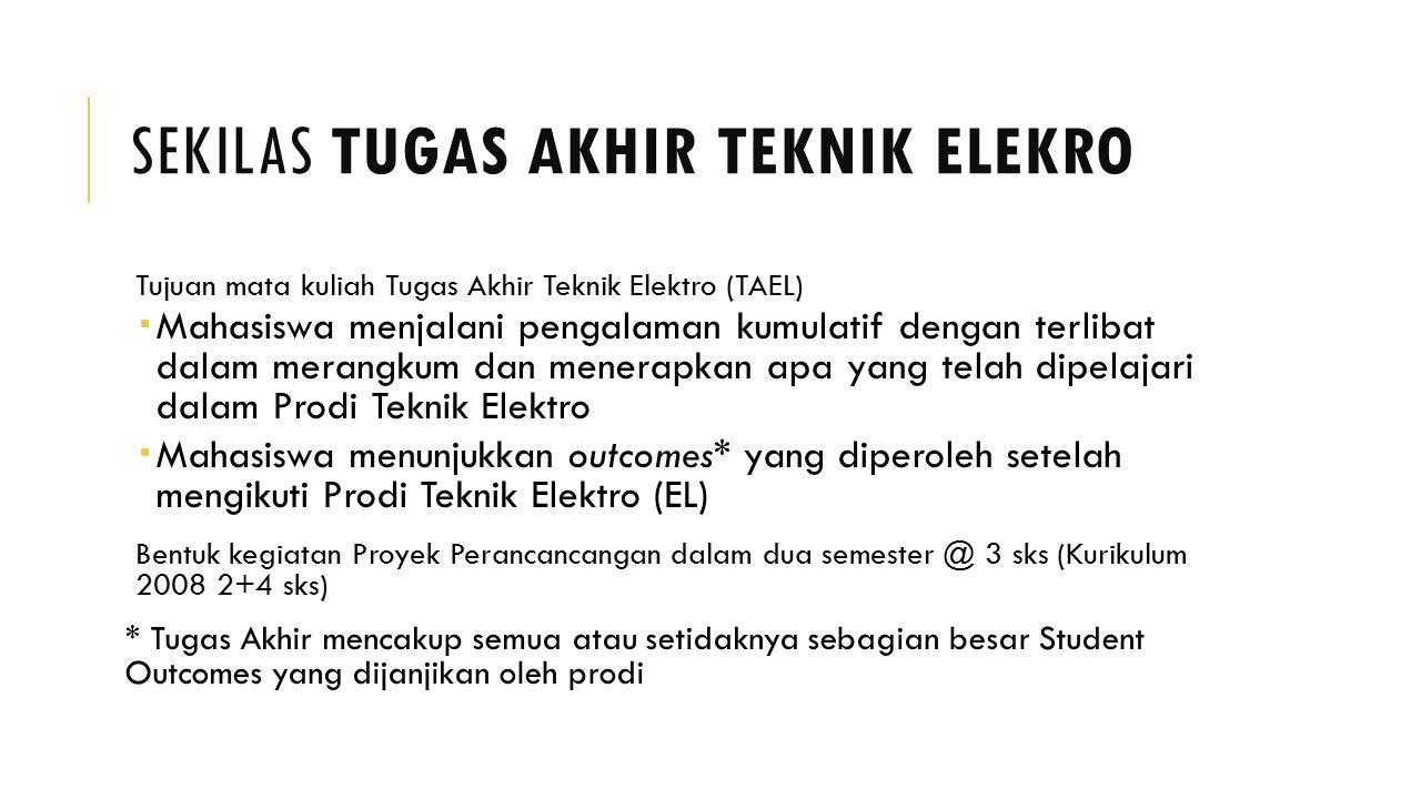 SEKILAS TUGAS AKHIR TEKNIK ELEKRO Tujuan mata kuliah Tugas Akhir Teknik Elektro (TAEL)  Mahasiswa menjalani pengalaman kumulatif dengan terlibat dala