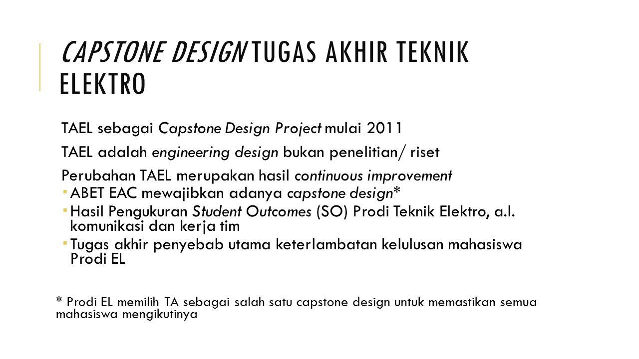 CAPSTONE DESIGN TUGAS AKHIR TEKNIK ELEKTRO TAEL sebagai Capstone Design Project mulai 2011 TAEL adalah engineering design bukan penelitian/ riset Peru