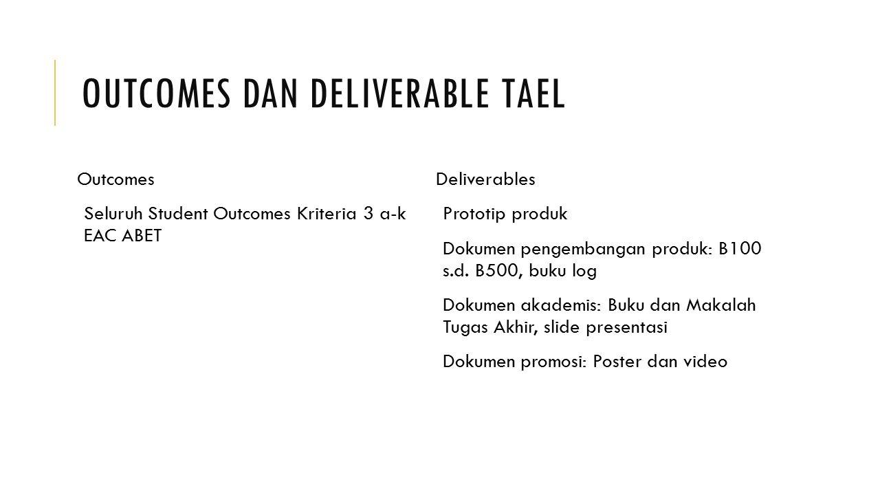 OUTCOMES DAN DELIVERABLE TAEL Outcomes Seluruh Student Outcomes Kriteria 3 a-k EAC ABET Deliverables Prototip produk Dokumen pengembangan produk: B100